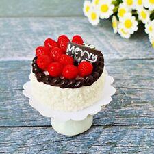 Dollhouse Miniatures Christmas Cake Ceramic Stand Set Bakery Sweet X'mas Decor