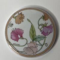 Vintage Hutschenreuther Germany Compact Mirror Leonard Porcelain Flowers Case