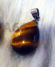 Tiger Eye Gemstone Pendant Choices Teardrop Drop Necklace SS Bail Feng Shui Luck