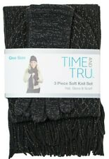 Time and Tru 3 piece soft knit set Black Hat Beanie, Glove, and Scarf