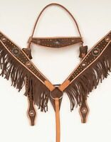 USED BROWN FRINGE ANTIQUE WESTERN BARREL RACER SHOW TRAIL LEATHER HORSE TACK SET