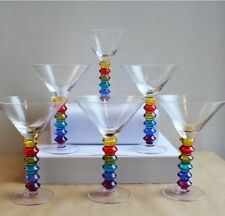 Stone The Crows Set of 6 RAINBOW Design COCKTAIL GLASSES Hand Painted