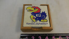 Kansas Jayhawks 4-Pack Square Coaster Set with Caddy - College