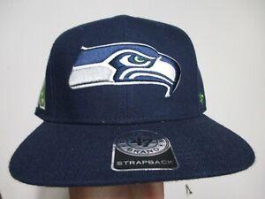 SEATTLE SEAHAWKS (47 BRAND) STRAPBACK HAT (ADJ) NWT $30 NAVY BLUE W/NFC LOGO!