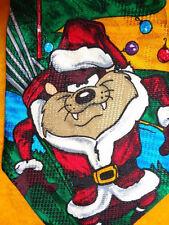 LOONEY TUNES ~ CHRISTMAS XMAS MENS TIE NECKTIE ~ TAZ & BUGS GOLFING SANTAS !!!