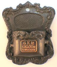 Brothel Gem'S Saloon Tombstone Match Holder W/Antique Patina Cast Iron #K582