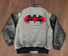 Vtg 90's Batman and Robin Varsity Leather & Wool Jacket Uncle Ben's Promo