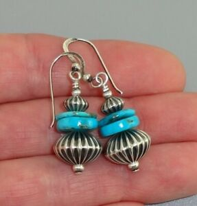 TURQUOISE Sterling FLUTED NAVAJO PEARL Old Pawn Vintage Drop DANGLE Earrings