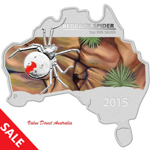 SALE!  2015 $1 AUSTRALIAN MAP SHAPED REDBACK SPIDER 1oz 99.9% SILVER PROOF COIN