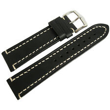 24mm Hirsch Liberty Mens Black Leather Contrast Stitched Watch Band Strap