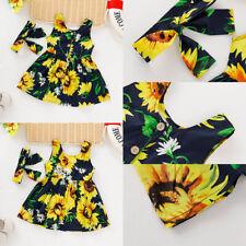 ❤️ Toddler Kids Baby Girls Sunflower Printed Summer Sleeveless Dress Chothes Set