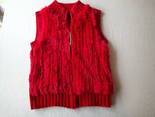 cabo wool  blend fur rabbit vest  red top,JACKET, SIZE s,knit ry