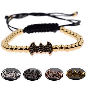 Unisex Charm Cubic Zircon Bead Batman Crown Buddha  Skull Bead Macrame Bracelets