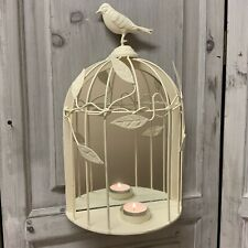 Cream Metal Bird Cage Wall Mirror T Light Holder Sconce Vintage Chic Candle