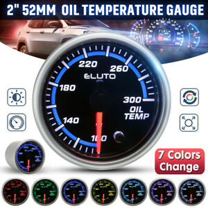 "2"" 52mm Pointer 7 Color LED Oil Temp Gauge Temperature °F Meter w/ Sensor Black"