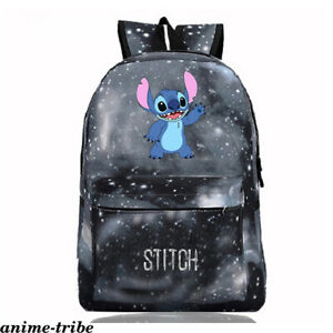 Anime Lilo Stitch Nylon Backpack Starry Sky Kids Schoolbag Knapsack Zip Packsack