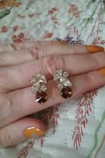 Marlborough boutique glamour cognac and clear gem earrings