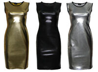Metallic Shiny Pvc Silver Black Gold Grease Wetlook Bodycon Midi Dress Clubwear