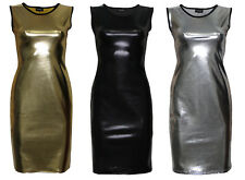 Metallic Shiny Pvc Silver Black Gold Grease Wetlook Bodycon Midi Dress Clubwear