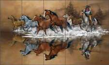 "Ceramic Tile Mural Backsplash Sorenson Western Horse Art 21.25""x12.75"" RW-JS007"