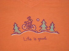 LIFE IS GOOD WOMENS S/S BLENDED JACKIE  MOUNTAIN BIKE V-NECK T- SHIRT SIZE XL