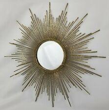 "Gold Metal Sunburst Wall Mirror Mid-Century Modern Style Retro Atomic 15 1/2"""
