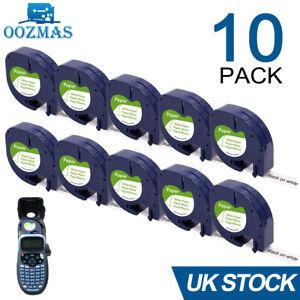 10PK Compatible Dymo LetraTag Refill White Paper 91200 Label Tape 12mm LT-100H