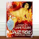 "Vintage French Perfume Poster Art ~ CANVAS PRINT 32x24"" Sauze Freres"
