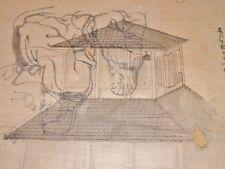 DESSIN ORIGINAL ANCIEN TEMPLE  Encre de Chine Pelure du JAPON Meiji Circa 1900