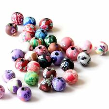 40Pcs Polymer Clay Flower Design Beads Finding--Jewelry Accessory--8mm