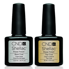 CND Shellac Top and Base Coat Set Soak Off Gel Polsih LARGE 0.42oz + 0.50oz