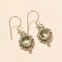 Natural Panorama Green Amethyst Earrings 925 Sterling Silver Dangle Drop Jewelry