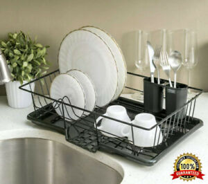 Large Dish Drainer Rack with REMOVABLE Drip Tray AND Cutlery Holder Kitchen Tidy
