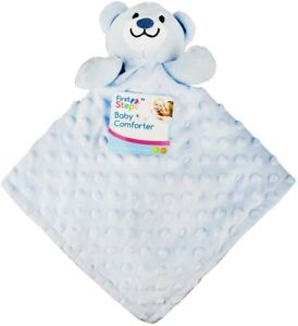 Soft Baby Bear Comforter Blue Double Sided Dimple & Fleece First steps 0mths NEW