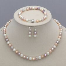 Genuine 7-8mm Natural Akoya Freshwater Pearl Necklace Bracelet Earrings AAA+