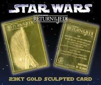 Star Wars RETURN OF THE JEDI Movie Poster 23KT Gold Card Sculptured #/10,000