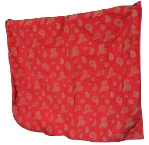 Woolrich Home Quilted Paisley Throw Blanket Striped Cotton Ticking Red Lap 52x46