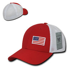 Red USA US American Flag Low Crown Structured Mesh Flex Baseball Fit Hat Cap