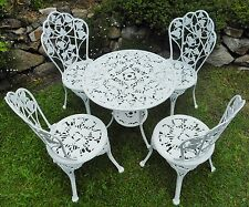 Vintage 1970's cast aluminium white outdoor table+4 chairs Hamptons Ivy pattern