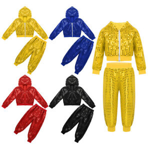 Boys Girls Sperkly Hip-hop Jazz Dance Outfits Hooded Jacket Tops Pants Costume