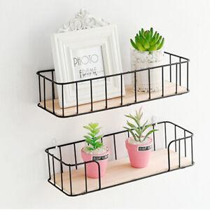 Wall Mounted Metal Wire Wood Shelf Floating Shelves Kitchen Storage Rack