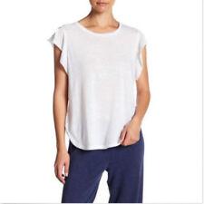 NWT C&C CALIFORNIA LYNETTE Womens Ruffle Cap Sleeve Tee Shirt Sz L White p
