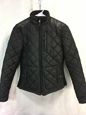 RALPH LAUREN Womens PS Quilted Equestrian Coat Jacket Black Lamb's Leather Trim
