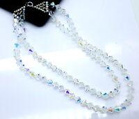 Vintage Aurora Borealis glass beads two strand necklace.