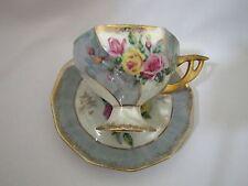 Vintage Lusterware Pedestal Tea Cup and Saucer Iridescent Teacup Roses