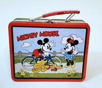 Vtg Disney Mickey Mouse Minnie Pluto Bicycle Lunch Box 1999 Series 1 Tin Metal