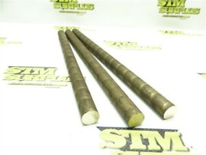 """2LB 3PC LOT OF SOLID BRONZE ROUND STOCK 14MM DIA X 10"""" LENGTH"""