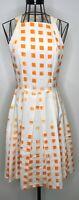 Rare JAYSON BRUNSDON VOGUE Cream Orange Patterned A Line Skater Dress UK 8 US 6