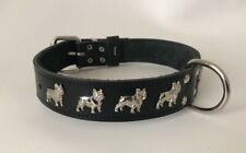 LEATHER FRENCH BULLDOG DOG COLLAR/1 1/4 INCH WIDE DOG COLLAR, REAL LEATHER  -