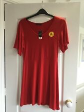 BNWT LADIES SHORT SLEEVE RED DAY DRESS SKATER STYLE BY GEORGE SIZE UK 16  RRP £8